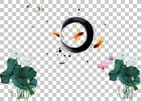 水墨画海报中国风,墨水莲花金鱼PNG剪贴画墨水,白色,叶子,分支机