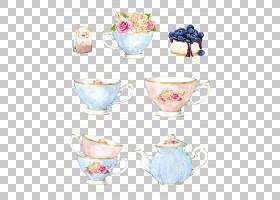 咖啡杯瓷花瓶碟,装饰手绘水彩背景,茶壶设置PNG剪贴画水彩画,水彩图片