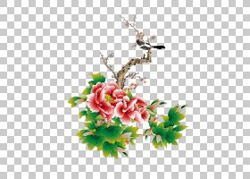 中国农历新年牡丹,新年元宵春节牡丹梅花PNG剪贴画插花,假期,叶,