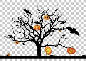 万圣节南瓜鬼树,万圣节南瓜鬼树结PNG剪贴画叶,树枝,分支,计算机