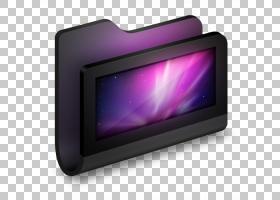 紫色显示设备多媒体,桌面黑色文件夹,黑色和灰色电子相框PNG剪贴