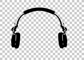 耳机唱片骑师音乐,手绘耳机PNG剪贴画电子,手,单色,封装PostScrip