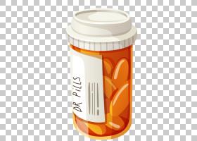 药物药片瓶,平板电脑博士研究PNG剪贴画电子,白色,橙色,盖子,女医