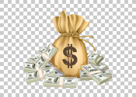 货币贷款投资资金支付,钱袋子,100美元钞票PNG clipart储蓄,金币,