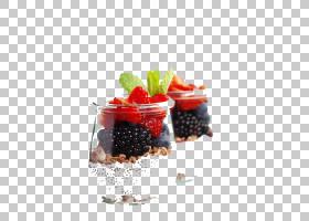 水果杯生食主义冻糕亚洲美食酸奶,谷物和草莓扣剪辑高清PNG剪贴画