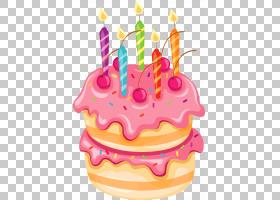 生日蛋糕婚礼蛋糕,粉红色蛋糕与蜡烛,生日蛋糕PNG剪贴画奶油,食物