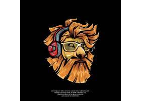 创意卡通狮子动物图标logo