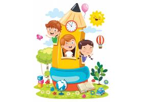 创意孩子们学习基地矢量插画图片