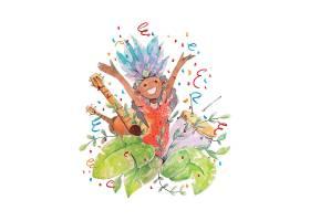 创意手绘巴西狂欢节舞蹈水彩插图矢量图
