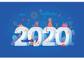 时尚可爱卡通2020新年素材