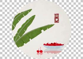绿叶与樱桃背景立夏PNG素材