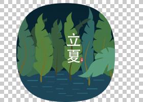 树林河流背景立夏PNG素材