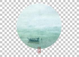 雨季渔船背景立夏PNG素材