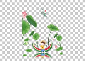 日系风西瓜船小男孩背景立夏PNG素材