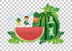 日系风抱西瓜的小孩背景立夏PNG素材