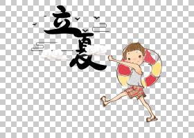 日系风去游泳的小孩背景立夏PNG素材
