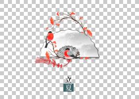 创意纸扇候鸟立夏PNG素材