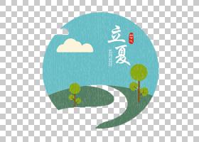 夏季雨山坡树木背景立夏PNG素材