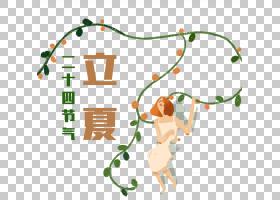 藤蔓植物与时尚女孩背景立夏PNG素材