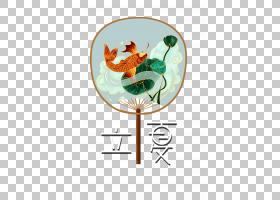 荷花锦鲤纸扇立夏PNG素材