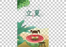 可爱卡通风小女孩吃西瓜背景立夏PNG素材
