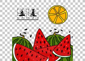 日系风卡通西瓜柠檬背景立夏PNG素材