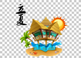 夏季沙滩木亭背景立夏PNG素材