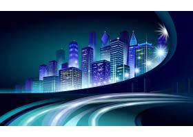 创意商务科技风炫彩城市矢量插画图片