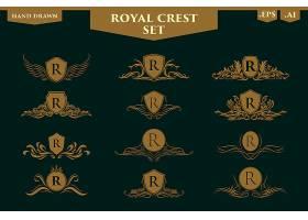 欧式盾牌形象花纹标签设计