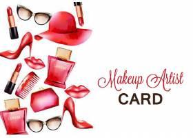 创意女性口红高跟鞋香水用品插画