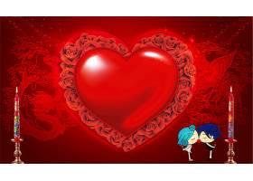 红色结婚季蜡烛红心背景图片