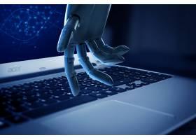 笔记本机器手创意科技背景