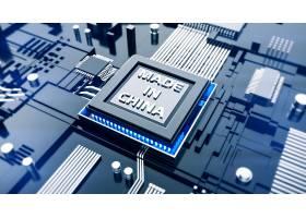 深色中国制造质感创意电路板科技芯片背景