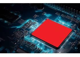 深色中国红质感创意电路板科技芯片背景