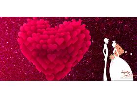 结婚季爱心与新人背景模板