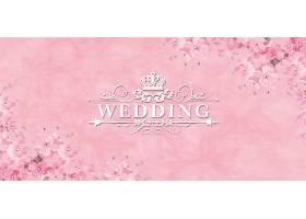 结婚季粉色背景模板