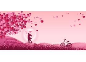 结婚季爱心与单车新娘背景模板