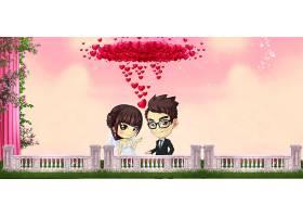 结婚季玫瑰花与新人背景背景模板