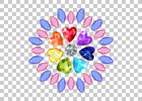 宝石明亮切割,彩色圆形钻石PNG剪贴画紫色,蓝色,颜色飞溅,心脏,颜