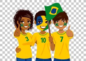 巴西狂欢节,巴西队PNG剪贴画T恤,儿童,友谊,团队,男孩,卡通,买断