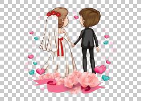 爱浪漫情侣卡通婚姻,卡通情侣,男孩和女孩在婚礼图形PNG剪贴画爱,