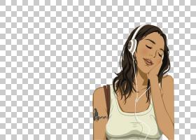 笔记本电脑的怨恨,女孩戴着耳机PNG剪贴画电子,画,脸,黑头发,时尚