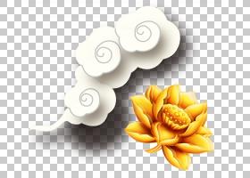 Stock.xchng,金莲花云PNG剪贴画金色框架,中式风格,云,装饰,花卉,