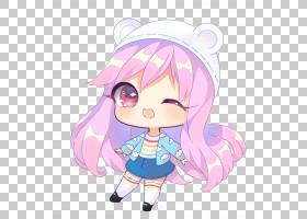 Chibi Anime Mangaka绘画,可爱的女孩PNG剪贴画紫色,紫罗兰色,漫