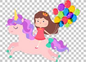Unicorn Convite Party,独角兽生日PNG剪贴画孩子,虚构人物,卡通,