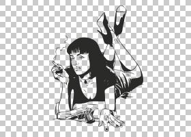 Mia Wallace Wall贴花艺术留声机唱片电影,绘画PNG剪贴画白色,手,
