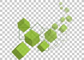 Cube Euclidean三维空间,绿色立方体PNG剪贴画角,画,叶,手,矩形,