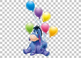 Eeyore的生日派对小熊维尼,Eeyore与气球透明卡通,Eeyore PNG剪贴