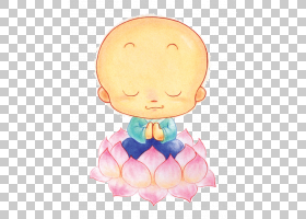 Oshu014d Q,版本卡通,莲花PNG剪贴画上的小僧侣儿童,画,手,虚构人