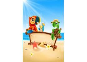 夏天鹦鹉乌龟休闲海滩背景图片